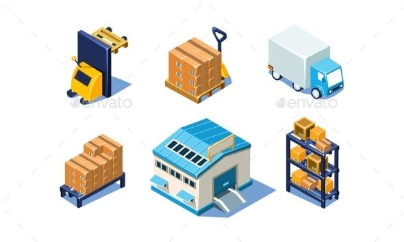 Vector Set of Isometric Warehouse and Logistics - Miscellaneous Vectors