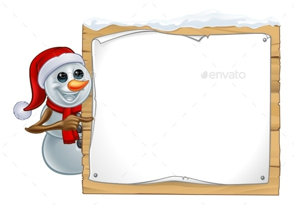 Christmas Snowman Cartoon Sign - Christmas Seasons/Holidays
