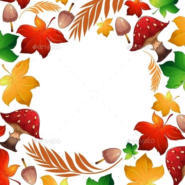 Autumn Leaf And Mushroom Template - Borders Decorative