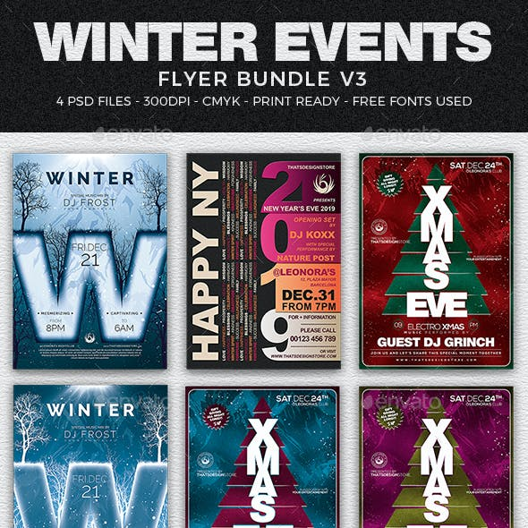 Winter Events Flyer Bundle V3