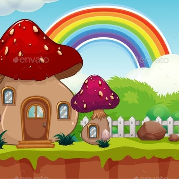 A Cute Cartoon Mushroom House