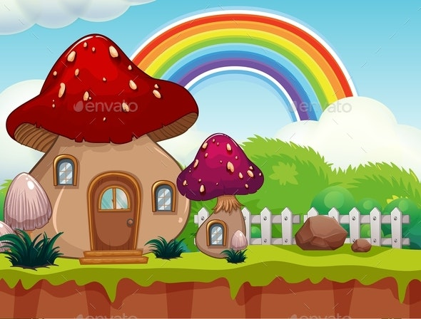 A Cute Cartoon Mushroom House - Landscapes Nature