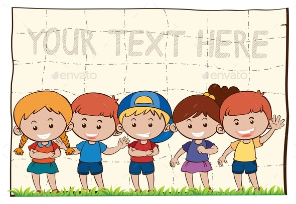 Background Template With Happy Children - People Characters