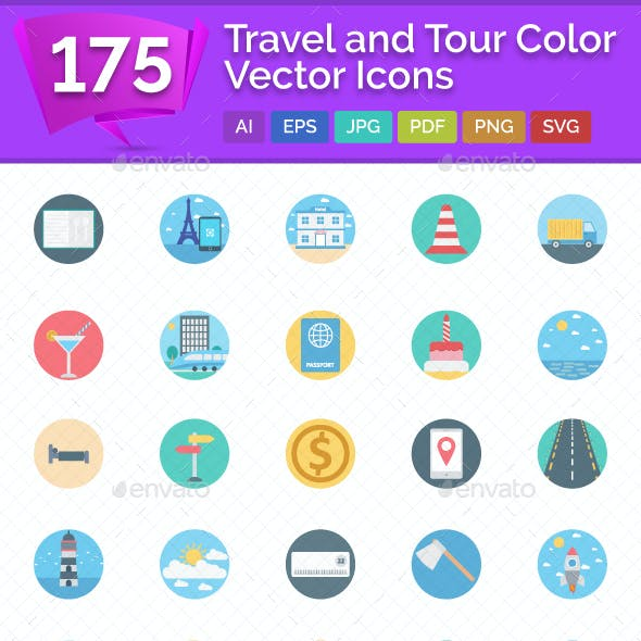 175 Travel and Tour Color Vector Icons