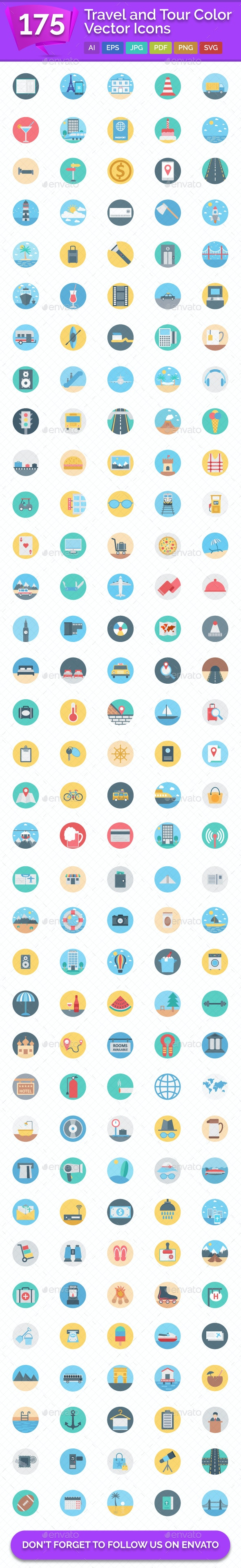 175 Travel and Tour Color Vector Icons - Icons