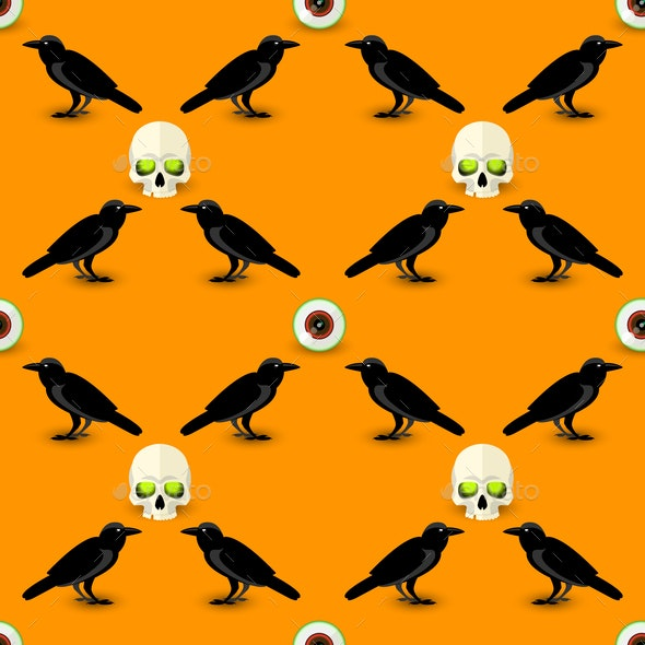 Scary Halloween Seamless Pattern - Abstract Conceptual