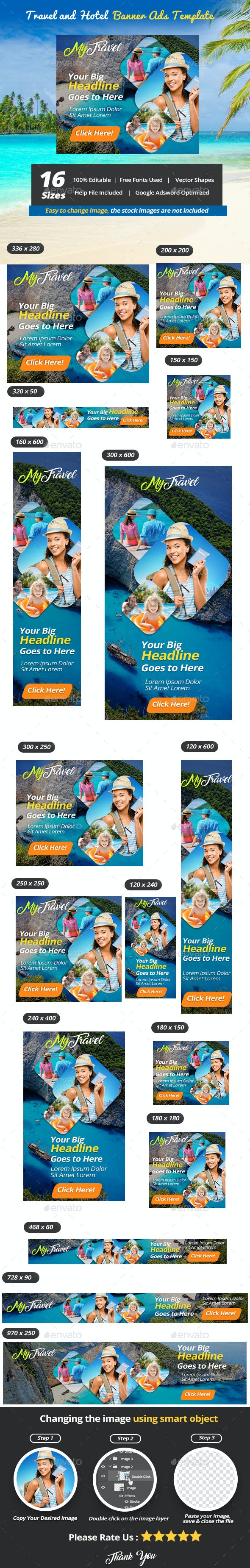 Travel and Hotel Banner Ads Template - Banners & Ads Web Elements