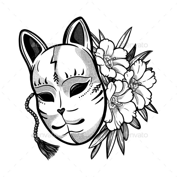 c19311925ad2a Japanese Mask Fox with Flowers by MartaLeo | GraphicRiver