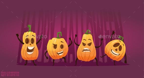 Cartoon Pumpkins - Food Objects