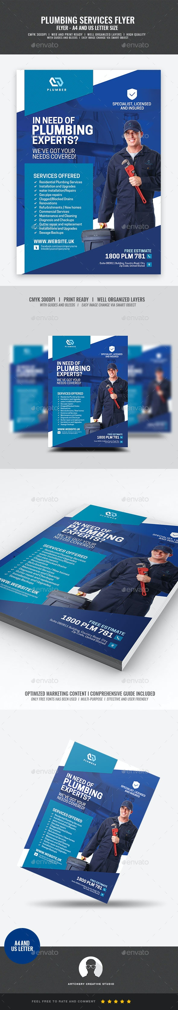 Plumber Services Flyer - Commerce Flyers