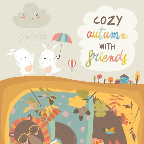 Animals Reading Book in Den Hello Autumn
