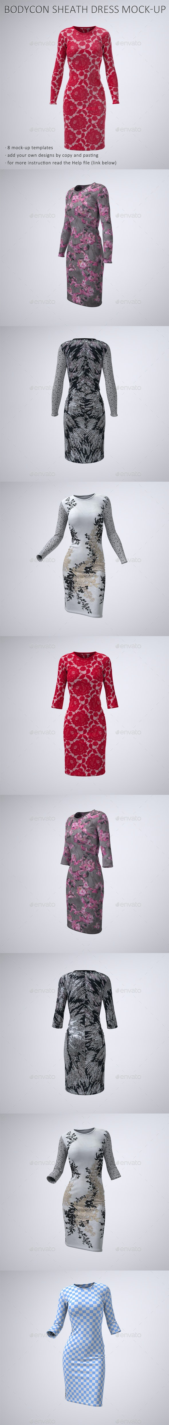 Body-Con Dress With Sleeves Mock-Up - Apparel Product Mock-Ups