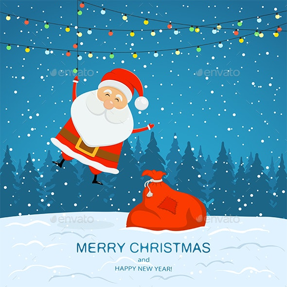 Snowy Background with Santa Claus and Christmas Lights - Christmas Seasons/Holidays