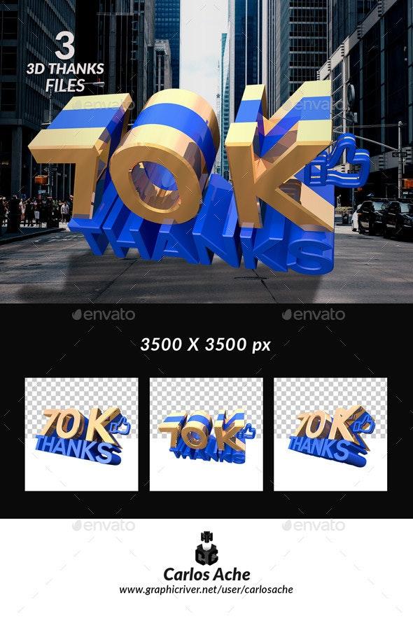 Facebook Like 70k - Text 3D Renders