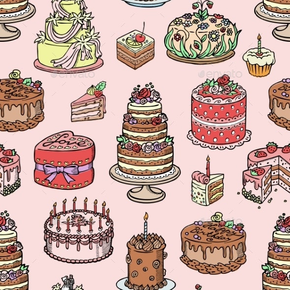 Wedding Cake Pie Hand Drawn Style Sweets Dessert - Food Objects