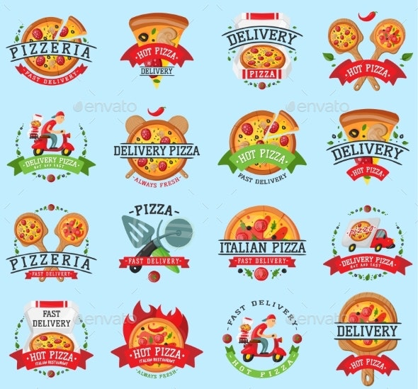 Pizza Italian Restaurant Vector Logo Badge Icons - Food Objects