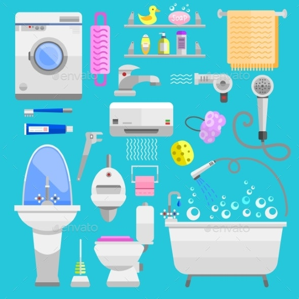 Bathroom Icons Symbols Vector Illustration - Man-made Objects Objects