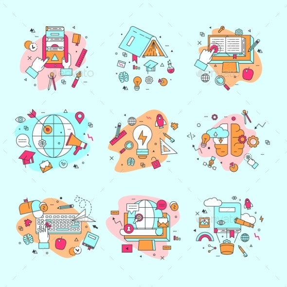 Education Icons Vector Illustration and Learning - Miscellaneous Vectors