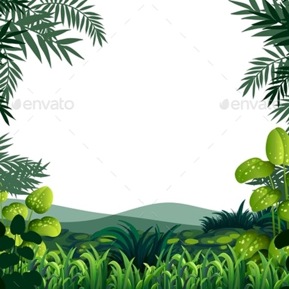 Background Frame With Hills And Grass