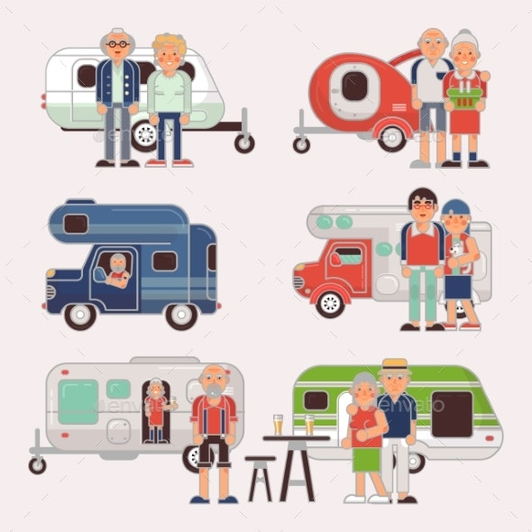 Senior Travel Vector Elderly Family Couple - People Characters
