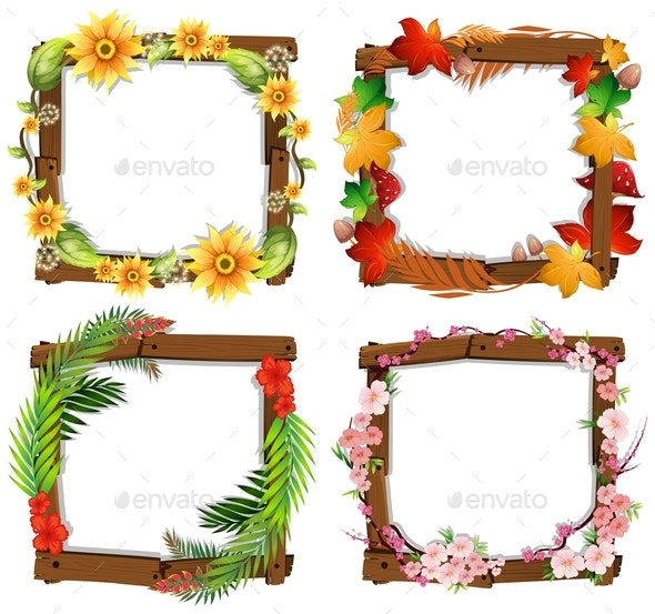 A Set Of Flower Wooden Frame - Borders Decorative