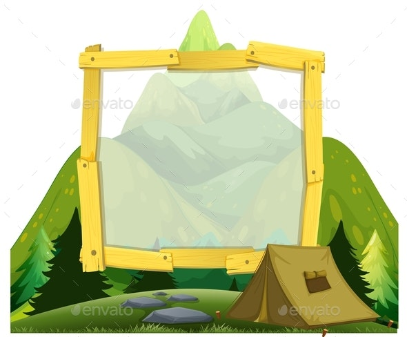 A Frame Of Mountain Camping - Borders Decorative