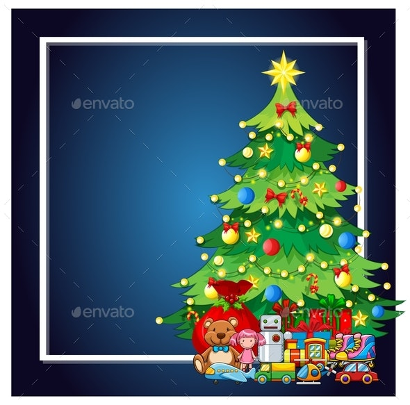 A Christmas Tree And Present Frame - Backgrounds Decorative