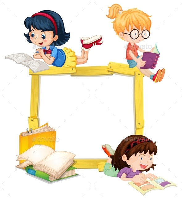 Girls Reading Book Wooden Frame - People Characters