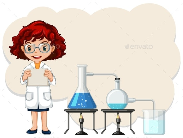 A Female Scientist Experiment Template - People Characters