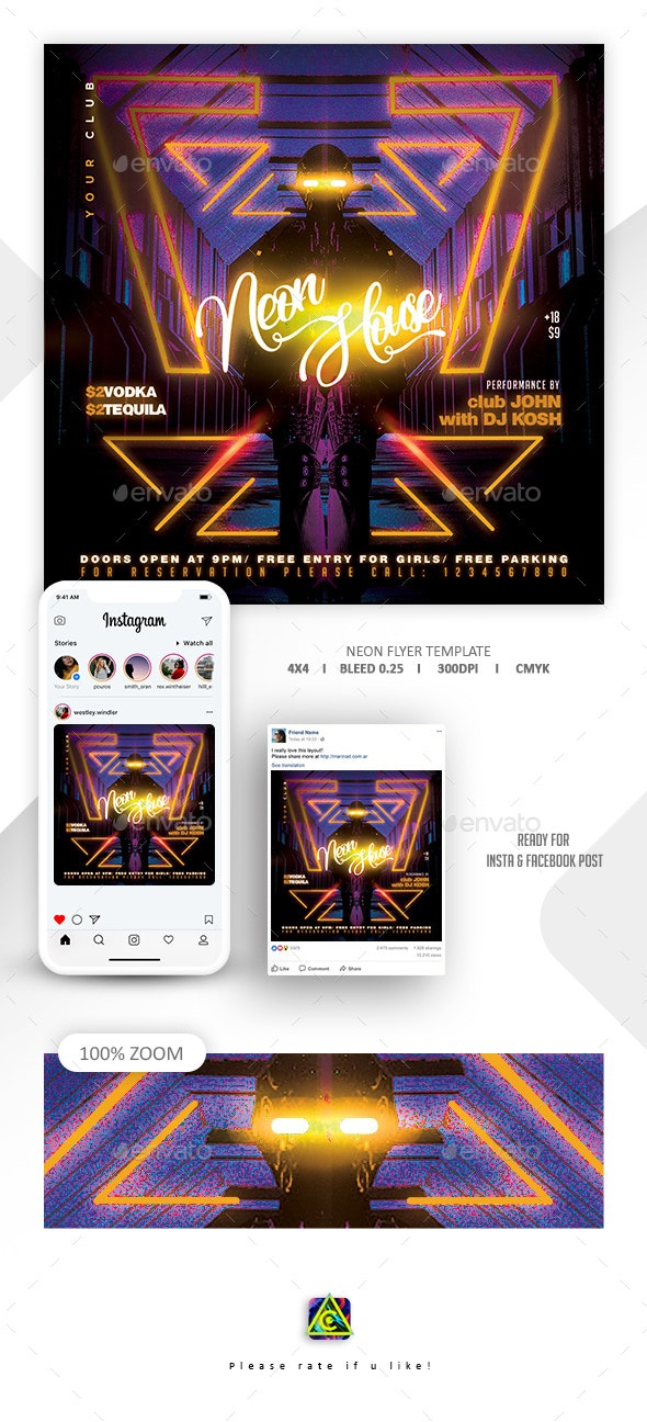 Neon Flyer Template - Clubs & Parties Events