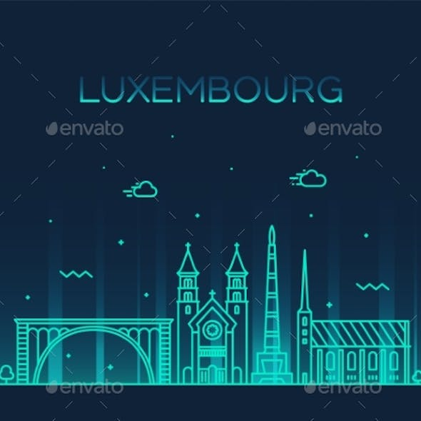 Luxembourg Skyline Vector Linear Style City