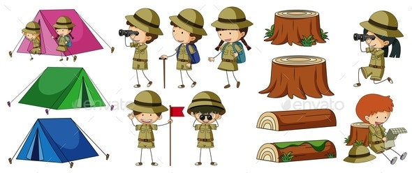 Boyscouts And Camping Elements - People Characters