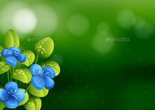 Beautiful Blue Flower Background - Backgrounds Decorative