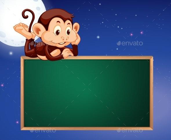 Monkey On Blackboard Frame Night Sky Background - Animals Characters