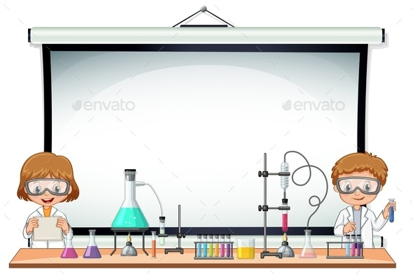 Border Template With Kids In Science Lab - People Characters