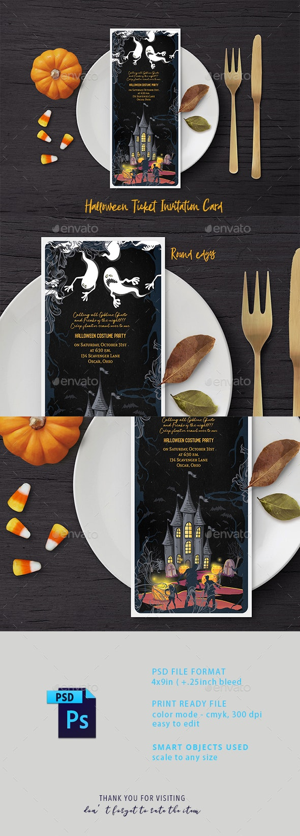 Halloween Ticket Invitation Card - Cards & Invites Print Templates