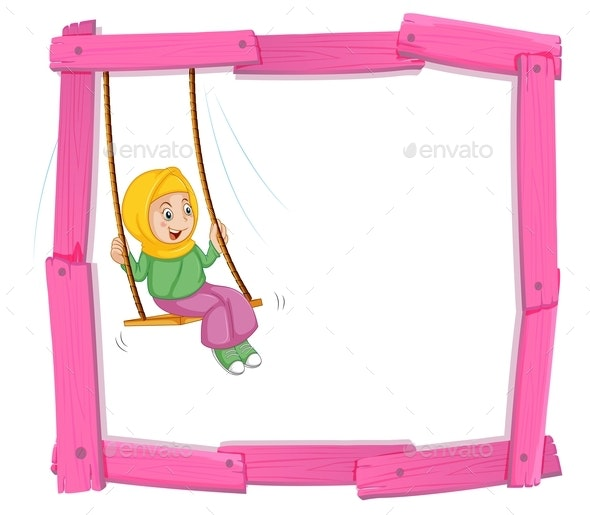 Girl on Swing Frame - People Characters