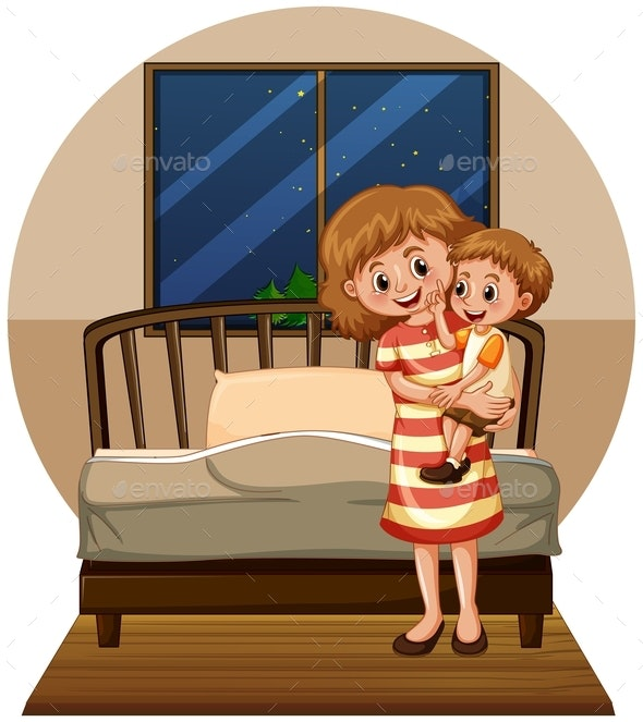 Mother and Son in Bedroom - People Characters