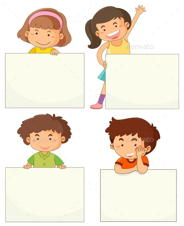 Four Kids Holding Blank Boards - People Characters