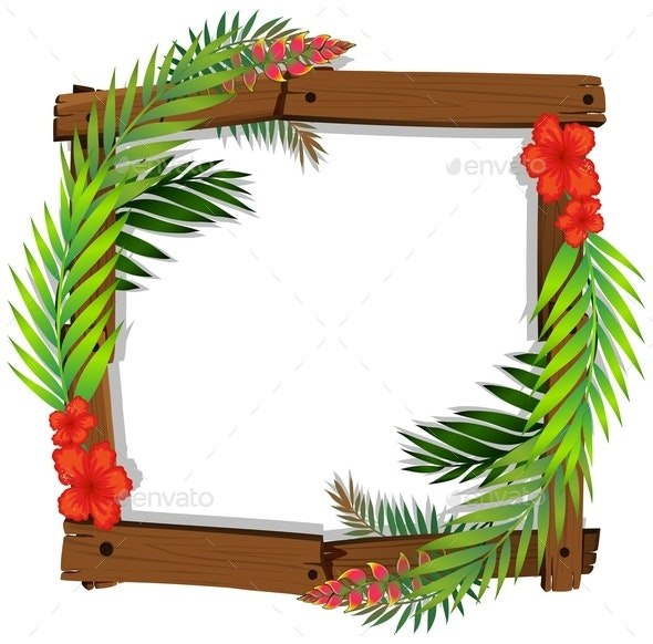 Red Hibiscus and Leaf Frame - Borders Decorative