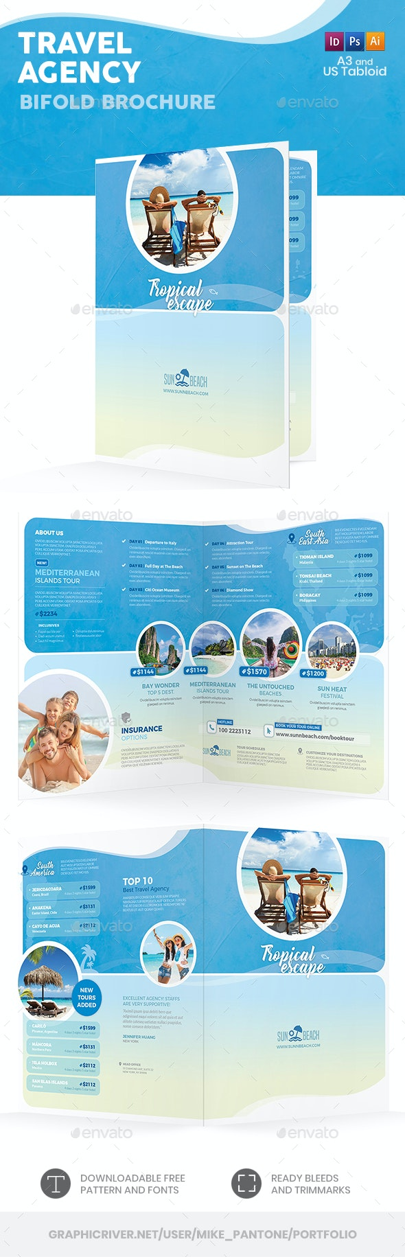 Travel Agency Bifold / Halffold Brochure 5 by Mike_pantone