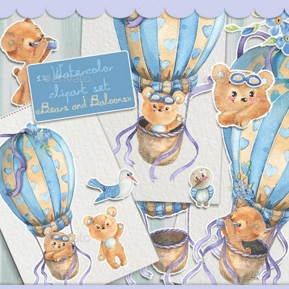 Watercolor Clipart Set with the Cute Ears Flying on a Hot Air Balloon