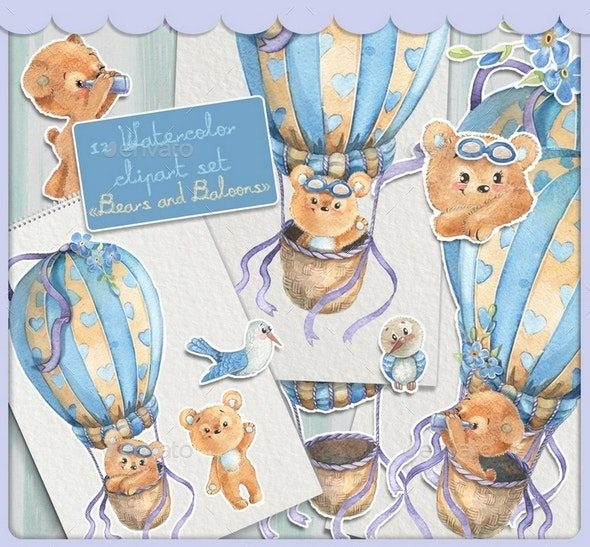 Watercolor Clipart Set with the Cute Ears Flying on a Hot Air Balloon - Animals Illustrations
