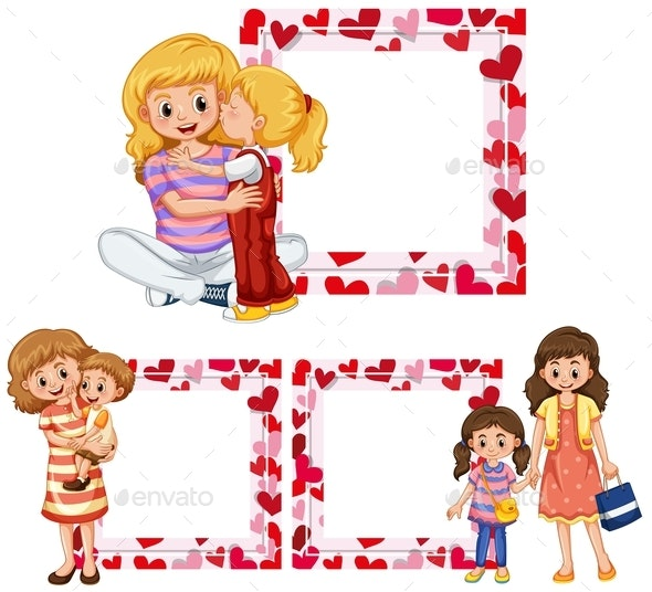 Heart Frame Templates With Mother and Kids - People Characters