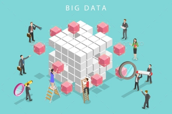 Big Data Analysis Flat Isometric Vector Concept - Concepts Business