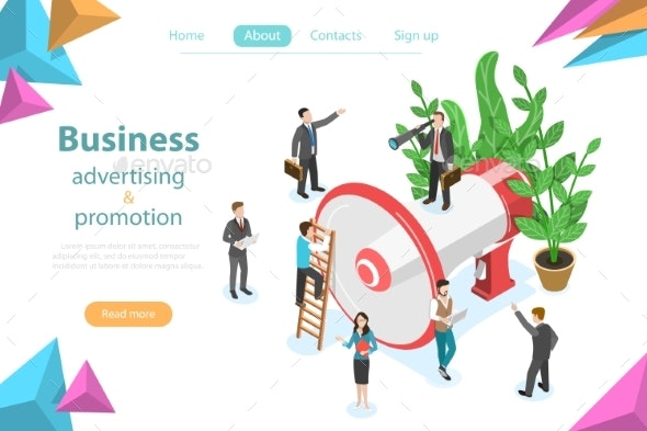 Business Advertising and Promotion Isometric Flat - Concepts Business