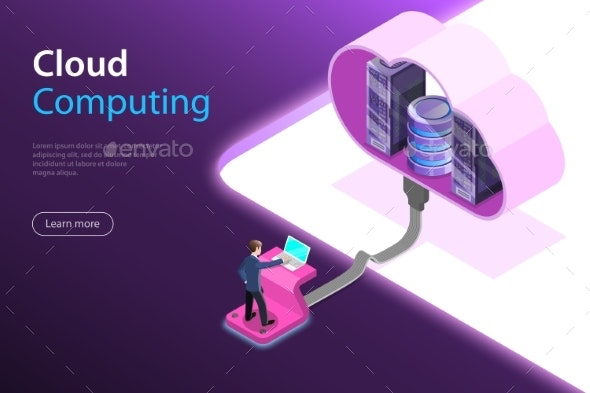 Cloud Computing Technology Isometric Flat Vector - Computers Technology