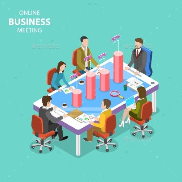 Online Business Meeting Isometric Flat Vector - Miscellaneous Vectors