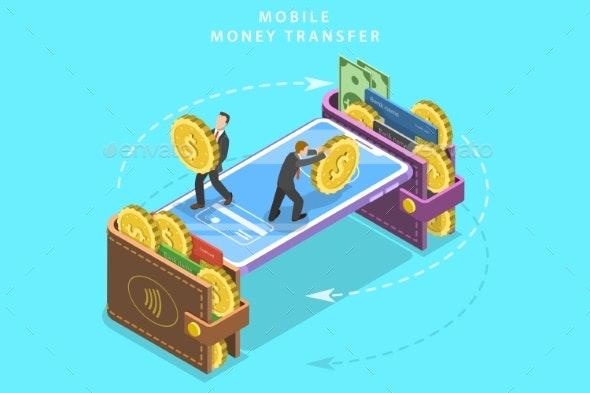 Mobile Money Transfer Isometric Flat Vector - Miscellaneous Conceptual