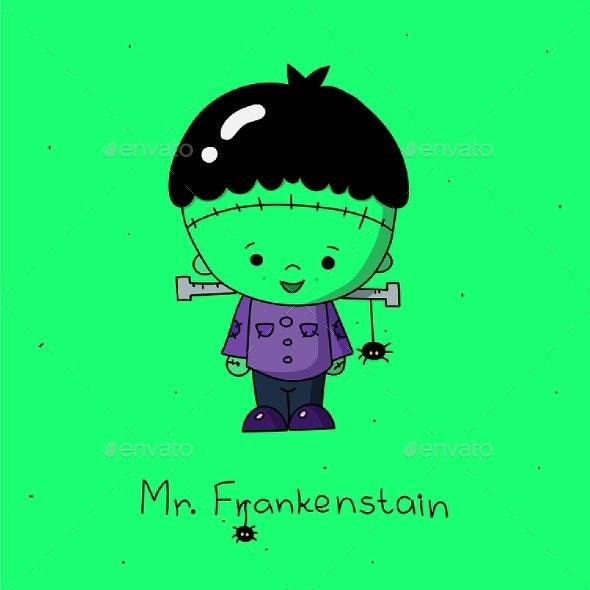Frankenstein Vector Illustration on Green - Halloween Seasons/Holidays